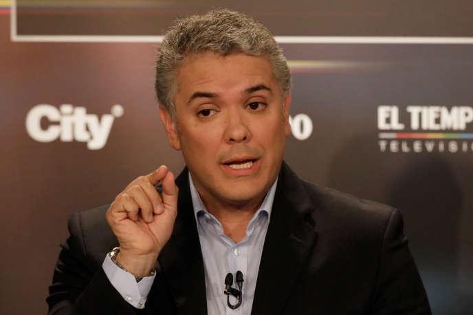 Le candidat à la présidentielle Ivan Duque, à Bogota, le 24 mai.