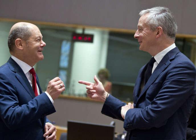 Le ministre allemand des finances Olaf Scholz et son homologue français Bruno Le Maire,à Bruxelles, le 25 mai 2018.
