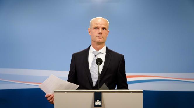 Le ministre des affaires étrangères néerlandais,Stef Blok, lors de sa conférence de presse, le 25 mai 2018.