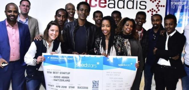 Nathnael Gossaye, cofondateur de LangBot, lors de la compétition d'innovation Seedstars. La start-up a remporté la finale éthiopienne le 22 août 2017.