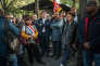 Jean-Luc Mélenchon et Philippe Martinez au rassemblementde soutienau syndicaliste CGT Philippe Christmann,le 16 octobre 2017, à Paris.