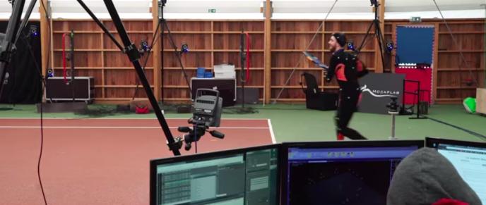 Un tennisman français durant une scéance de capture vidéo de mouvements, pour le jeu«Tennis World Tour».