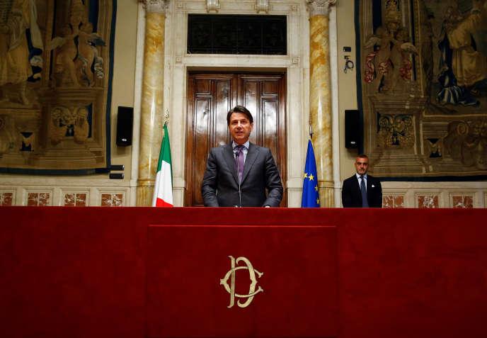 Le premier ministre italien, Giuseppe Conte, à la chambre des députés, à Rome, le 24 mai.