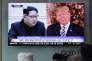 Les présidents nord-coréen, Kim Jung-un, et américain, Donald Trump, sur une chaîne d'information en continu sud-coréenne à la gare de Séoul, le 26 mai 2018.
