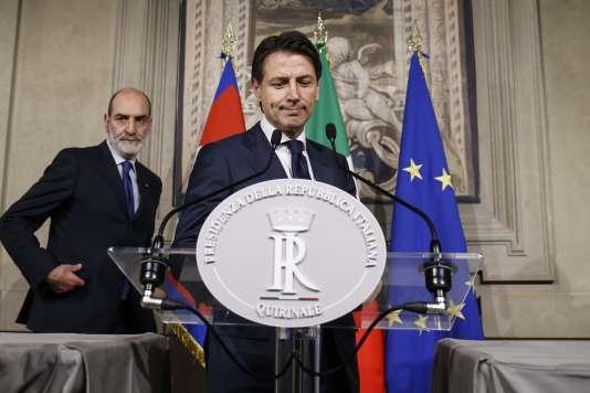 Giuseppe Conte, dimanche soir en annonçant qu'il renonçait à former un gouvernement.