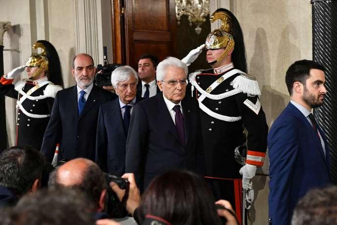 Sergio Mattarella, le 27 mai à Rome, après son entretien avecGiuseppe Conte.