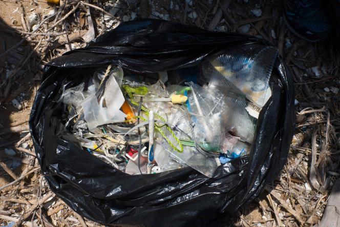Des déchets en matière plastique ramassés par des bénévoles sur une plage de Hongkong en mai 2018.