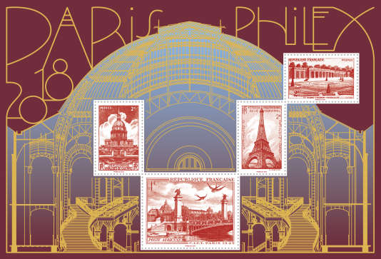 Le bloc doré du salon vendu 10 euros, tiré à 100000 exemplaires, reproduit des «classiques» de la philatélie hexagonale revisités.