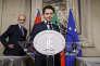 Giuseppe Conte annonçant qu'il doitrenoncer à son poste de premier ministre, au palais du Quirinal, à Rome, le 27 mai.