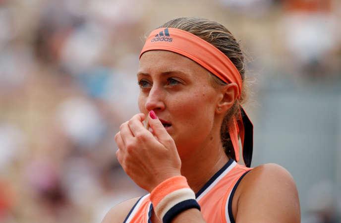 Kristina Mladenovic éliminée dès le premier tour de Roland-Garros, le 28 mai 2018.