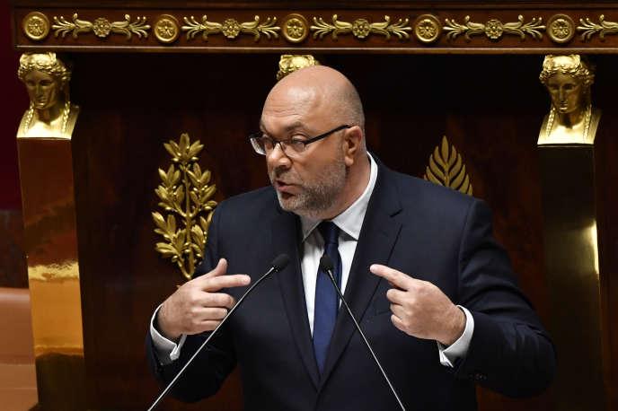Le ministre de l'agriculture Stéphane Travert, lors de l'examen du projet de loi «agriculture et alimentation» à l'Assemblée nationale le 22 mai 2018.