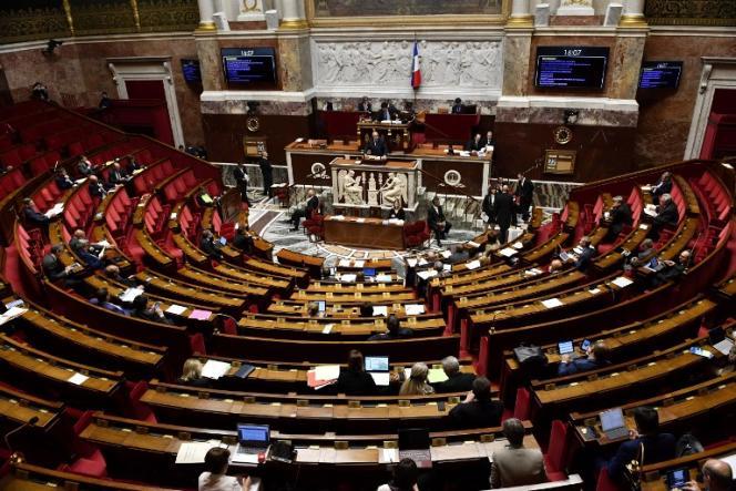L'Assemblée nationale pendant la prise de parole de Stéphane Travert sur le projet de loi agriculture et alimentation, le 22mai 2018.