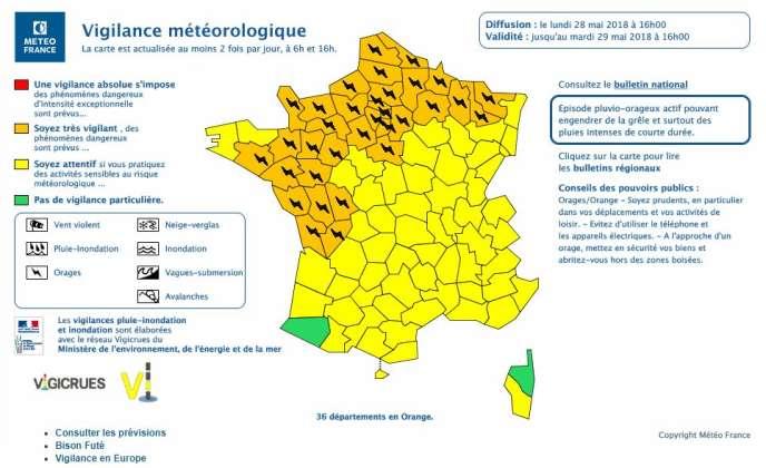 « Ces orages pourront donner de fortes précipitations et de la grêle», selon Météo France.