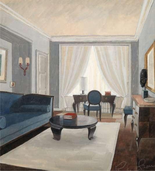 Projet gouaché par René Prou d'un petit salon pour un particulier, vers 1946.