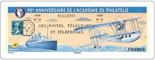 Timbre de distributeur dessiné par Gilles Bosquet pour le 90e anniversaire de l'Académie de philatélie. Tirage : 35000 exemplaires.