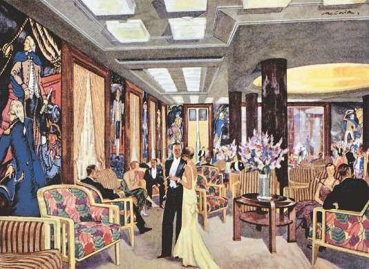 Salon de musique imaginé par René Prou et Marc Simon pour le paquebot «Lafayette», 1930