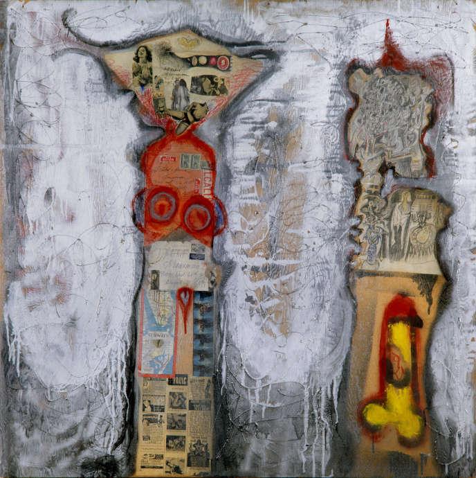 «Couple new-yorkais» (1961), de Jean-Jacques Lebel, collage sur bois avec lettres de François Dufrêne et Erro, collection particulière.
