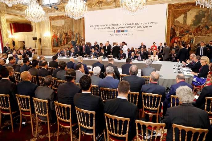 A la conférence internationale sur la Libye, qui s'est tenue à l'Elysée, le 29 mai 2018.