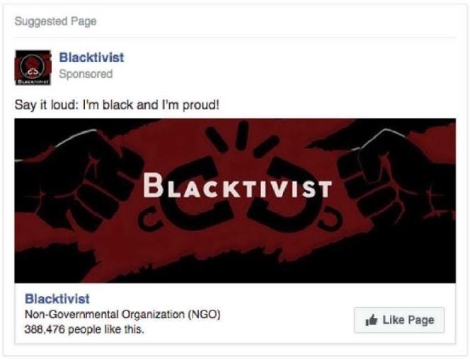 Cette publicité pour le groupe« Blacktivist» a été financée par la Russie à hauteur de 1700€.