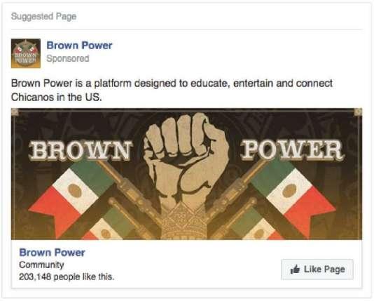 Cette publicité, adressée à la communauté hispanique des Etats-Unis, est la deuxième plus vue de toutes celles financées par la Russie entre 2015 et 2017 et repérées par Facebook.