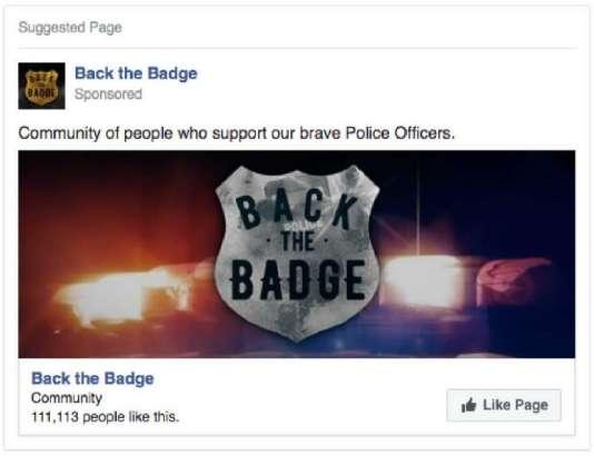 1,3 millions de personnes ont vu cette publicité « pro-police» financée par la Russie, et 73 000 personnes ont cliqué dessus.