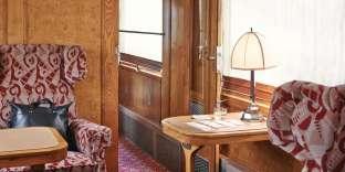 Voiture salon Pullman avec bâti de frêne et panneaux en loupe de frêne, 1929.