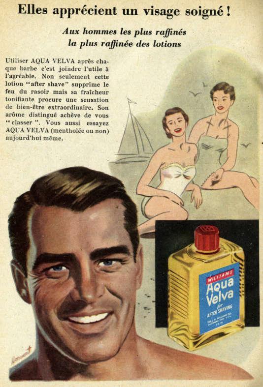 En 1917, la maison J. B. Williams Inc., de Glastonbury (Connecticut), lance « Aqua Velva». C'est le premier after-shave. Ici, une publicité datant des années 1955.