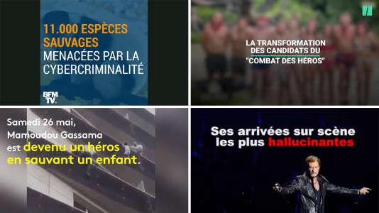 Exemples de choix graphiques faits par d'autres sites d'information (de gauche à droite : BFM TV / Le HuffPo / France Info / Buzzfeed).