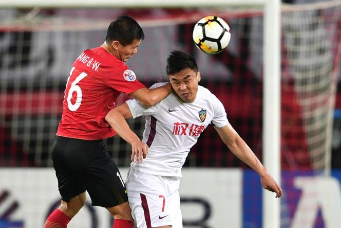 Lors du match entre Tianjin Quanjian et Guangzhou Evergrande, à Guangzhou, le 15 mai.