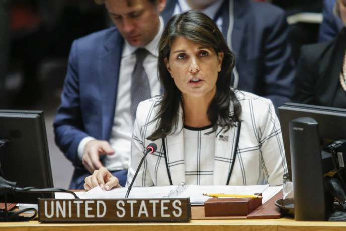 L'ambassadrice américaine à l'ONU, Nikki Haley, au siège de l'organisation à New York le 30mai.