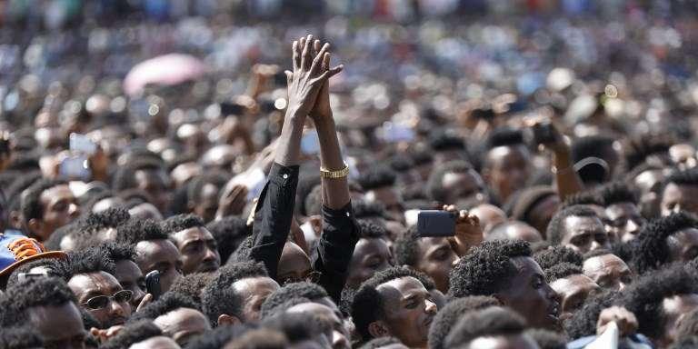 Lors d'un meeting du premier ministre éthiopien, Abiy Ahmed, à Ambo, le 11avril 2018.