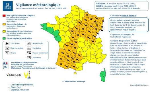 Cette alerte météo est valable jusqu'à jeudi 31 mai, à 7 heures.