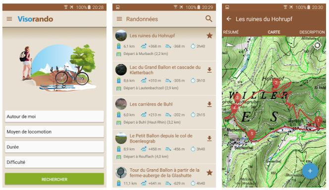Visorando permet de trouver des randonnées de différents niveaux de difficulté et de durée.