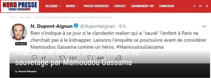 Capture écran de l'article de Nordpresse avec un faux tweet de Nicolas Dupont-Aignan.