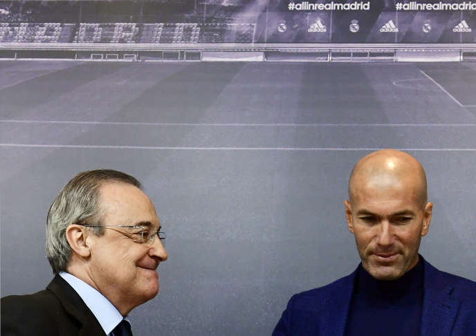 Florentino Pérez (à gauche) et Zinédine Zidane, le 31 mai 2018 à Madrid