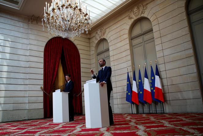 Le premier ministre, Edouard Philippe, et le porte-parole du gouvernement, Benjamin Griveaux, à l'Elysée, le 30 mai.