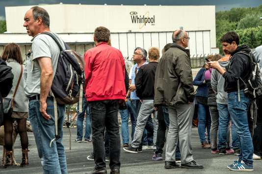 Le 14 mai 2017, sur le site Whirlpool d'Amiens (Somme), lors d'une manifestation contrela décision du groupe américain de délocaliser la production de l'usine en Pologne.