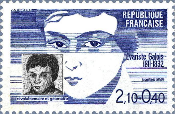 """« Qui était """"l'infâme coquette""""pour laquelle Galois s'est battu en duel et dont le nom est raturé sur une lettre écrite la veille de sa mort ? » (timbre-poste émis en 1984)."""