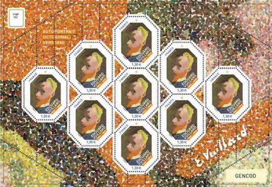 Tableau acquis en 2015 par l'Etat, conservé au Musée d'Orsay à Paris. Première octogonale: le timbreest présenté dans une mini-feuille de neuf timbres qui peut être découpée aux 4 coins pour avoir elle aussi une forme octogonale.