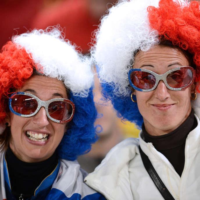 Deux supporteurs de l'équipe de France lors de la Coupe du Monde2014.