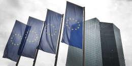 Devant la Banque centrale européenne, à Francfort, en Allemagne.