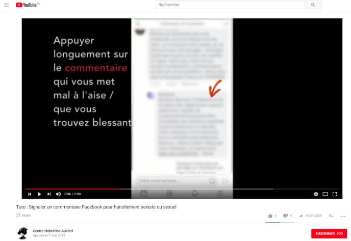 Sur YouTube, une trentaine de vidéos permettent aux victimes de cyberviolences sexistes et sexuelles d'apprendre rapidement à demander le retrait de contenus problématiques.