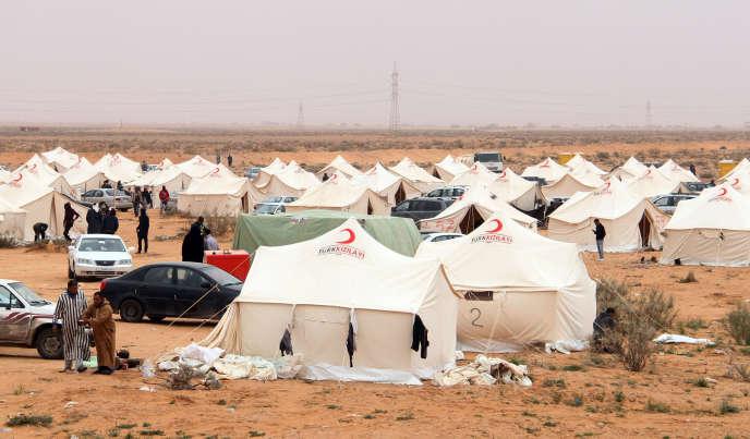 Un camp de déplacés de la ville de Tawarga, en février 2018.