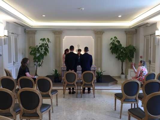 Mariage de Damien et Povilas, à Cannes, le 19 mai 2018.