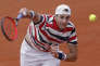 John Isner of the U.S. serves against Argentina's Juan Martin del Potro during their fourth round match of the French Open tennis tournament at the Roland Garros stadium in Paris, France, Monday, June 4, 2018. (AP Photo/Michel Euler)