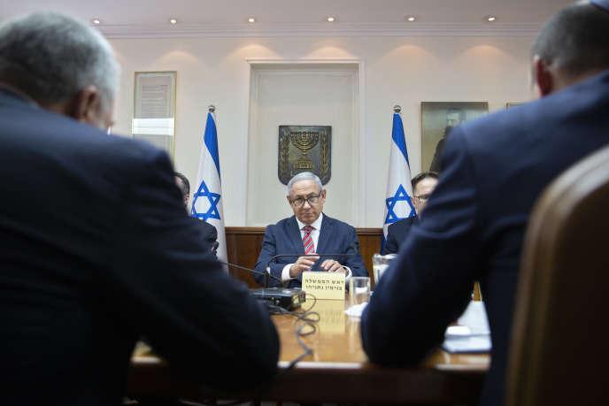 Benyamin Nétanyahou lors du conseil des ministres, à Jérusalem, le 3 juin.