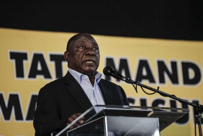 Cyril Ramaphosa, le président de l'Afrique du Sud, lors d'un Congrès de l'ANC, àJohannesbourg, le 19 mai.