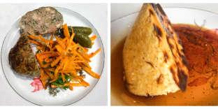 Caillettes maison au thym et carottes râpées ; crème caramel artisanale.