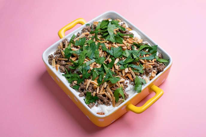 La fatteh d'aubergines, un plat«à la fois chaud et froid, croquant et moelleux, salé et légèrement sucré».