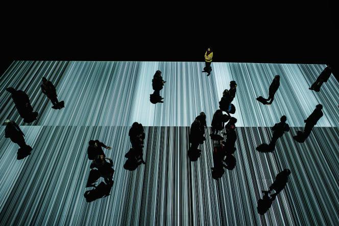 Au sol, sous les pas des visiteurs, le «Test Pattern n°9» de Ryoji Ikeda, au Musée des Confluences, à Lyon, en mars 2016